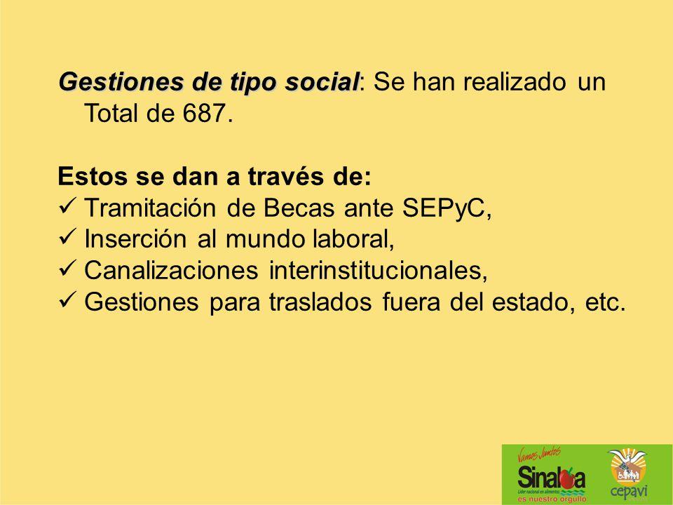 Gestiones de tipo social Gestiones de tipo social: Se han realizado un Total de 687. Estos se dan a través de: Tramitación de Becas ante SEPyC, Inserc