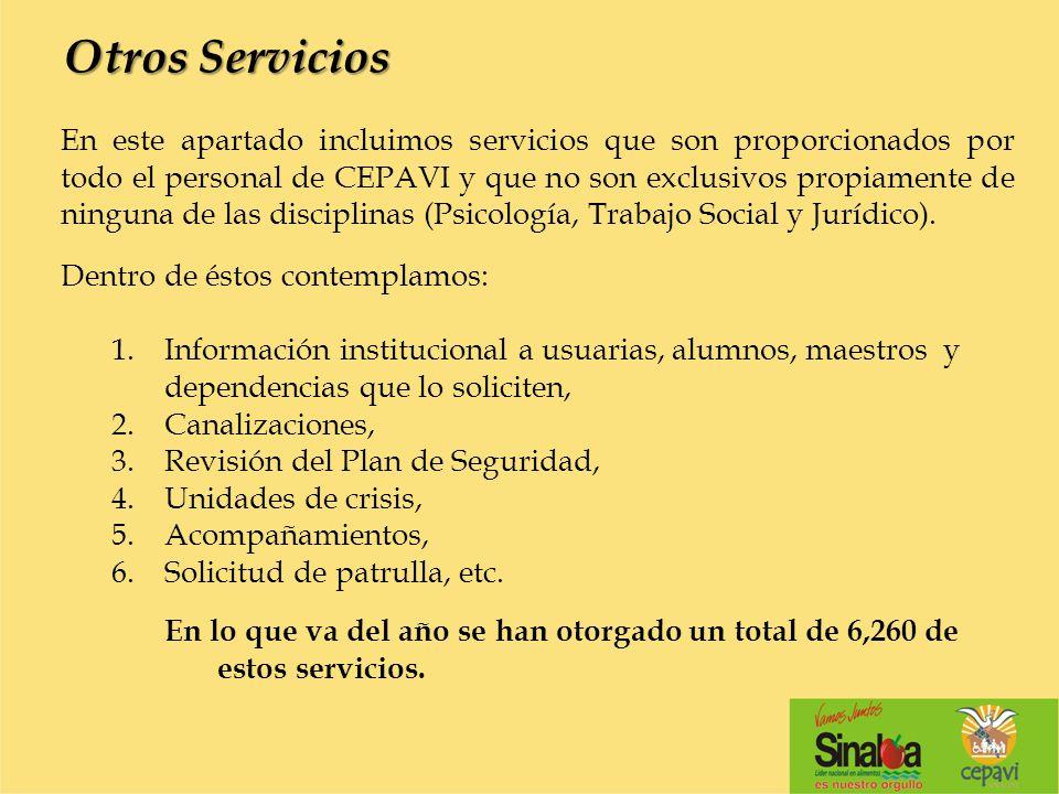 Otros Servicios En este apartado incluimos servicios que son proporcionados por todo el personal de CEPAVI y que no son exclusivos propiamente de ning