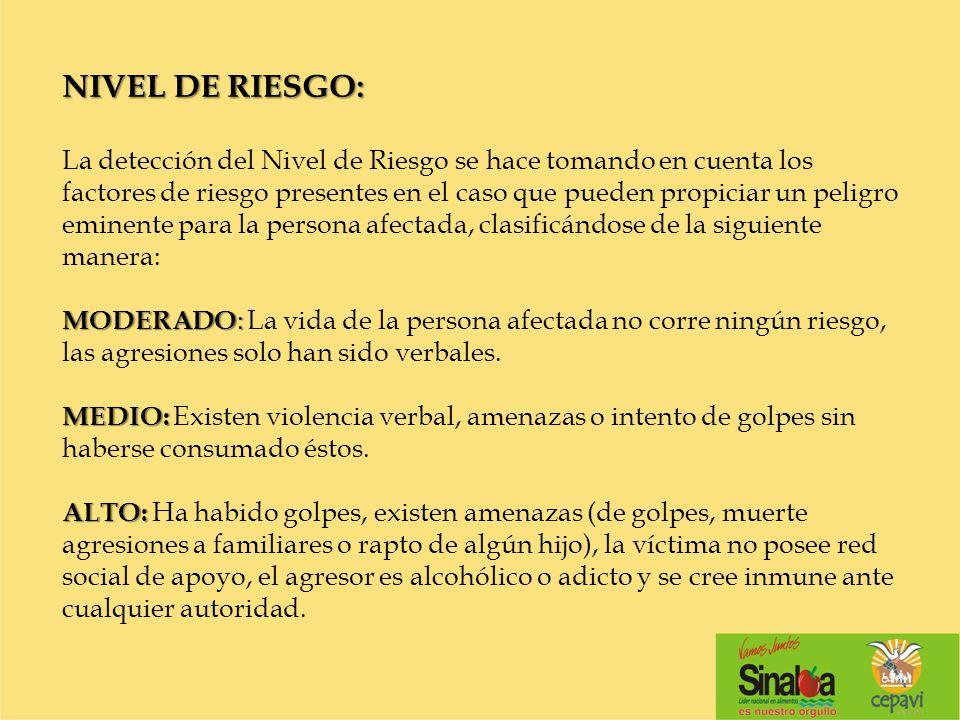 NIVEL DE RIESGO: MODERADO : MEDIO: ALTO: NIVEL DE RIESGO: La detección del Nivel de Riesgo se hace tomando en cuenta los factores de riesgo presentes