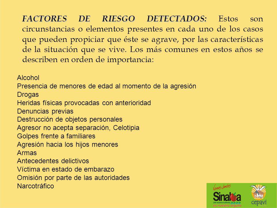 FACTORES DE RIESGO DETECTADOS: FACTORES DE RIESGO DETECTADOS: Estos son circunstancias o elementos presentes en cada uno de los casos que pueden propi