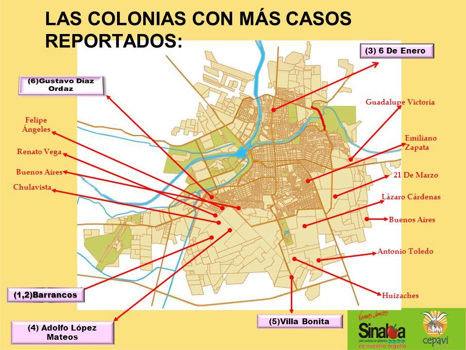 LAS COLONIAS CON MÁS CASOS REPORTADOS: (3) 6 De Enero (1,2)Barrancos (4) Adolfo López Mateos (5)Villa Bonita Guadalupe Victoria Lázaro Cárdenas 21 De