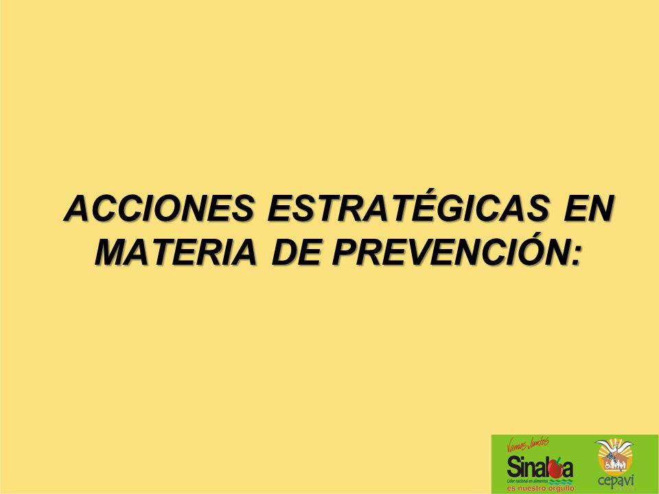 ACCIONES ESTRATÉGICAS EN MATERIA DE PREVENCIÓN: