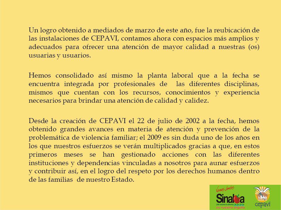 En cada una de las acciones que en el Consejo se emprenden van contempladas las metas propuestas por el ejecutivo en el Plan Estatal de Desarrollo 2005-2010 y lo que la misma Ley para Prevenir y atender la Violencia Intrafamiliar en el estado de Sinaloa, nos marca.