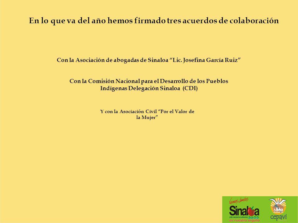 Con la Asociación de abogadas de Sinaloa Lic. Josefina García Ruiz En lo que va del año hemos firmado tres acuerdos de colaboración Con la Comisión Na