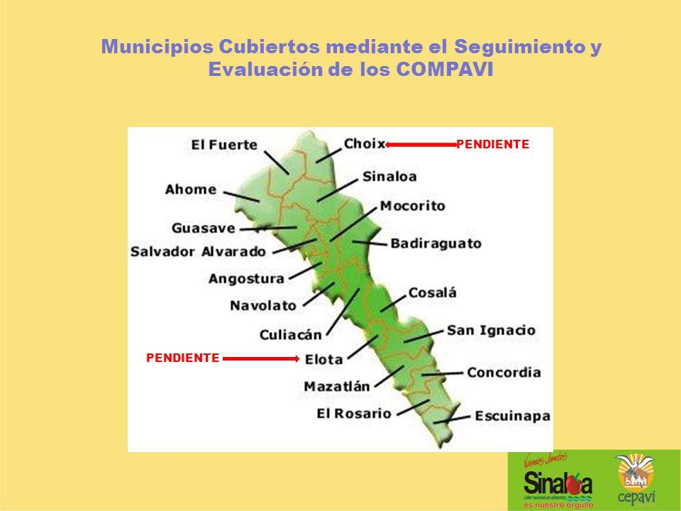 Municipios Cubiertos mediante el Seguimiento y Evaluación de los COMPAVI PENDIENTE