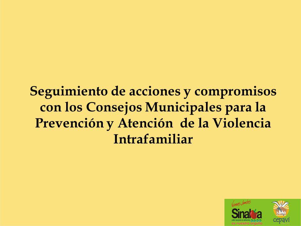 Seguimiento de acciones y compromisos con los Consejos Municipales para la Prevención y Atención de la Violencia Intrafamiliar
