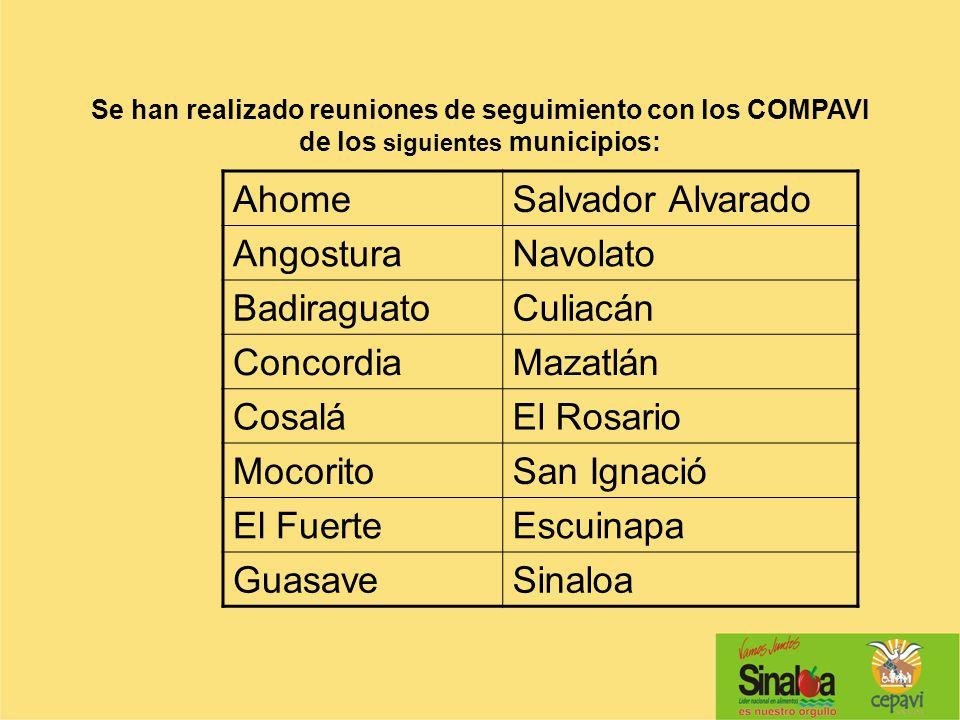 Se han realizado reuniones de seguimiento con los COMPAVI de los siguientes municipios: AhomeSalvador Alvarado AngosturaNavolato BadiraguatoCuliacán C
