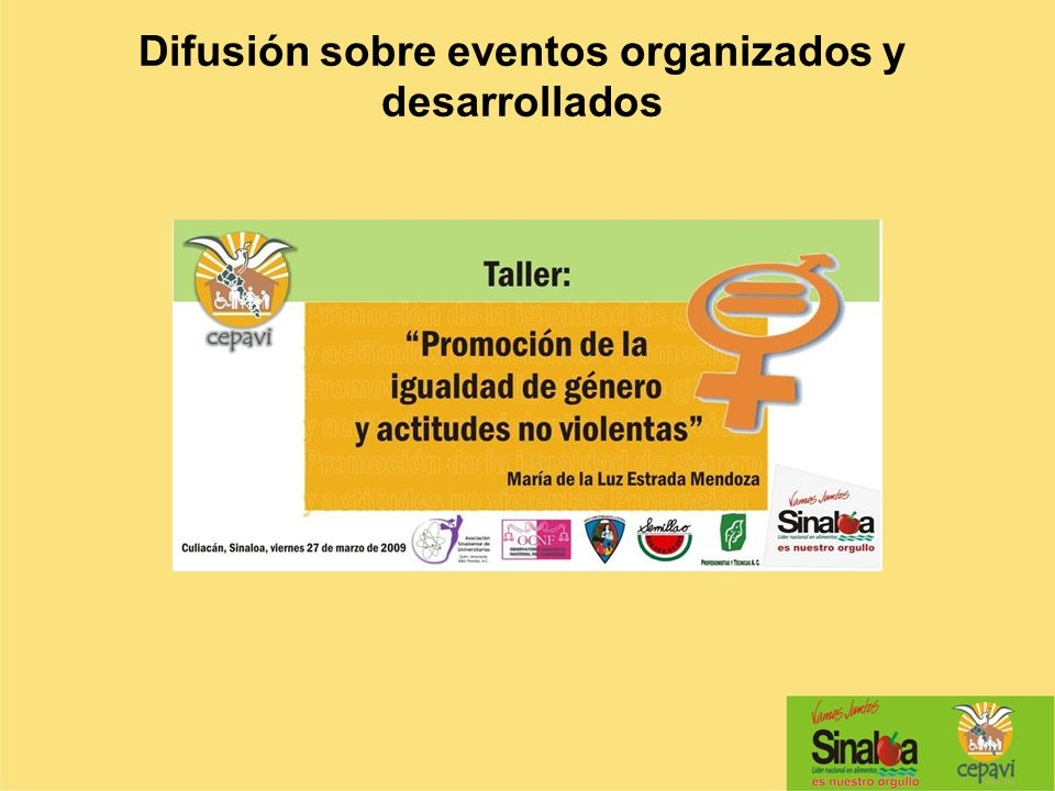 Difusión sobre eventos organizados y desarrollados
