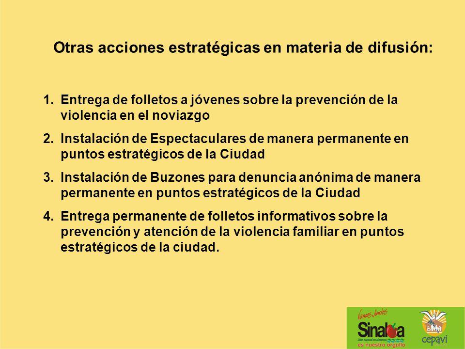 Otras acciones estratégicas en materia de difusión: 1.Entrega de folletos a jóvenes sobre la prevención de la violencia en el noviazgo 2.Instalación d
