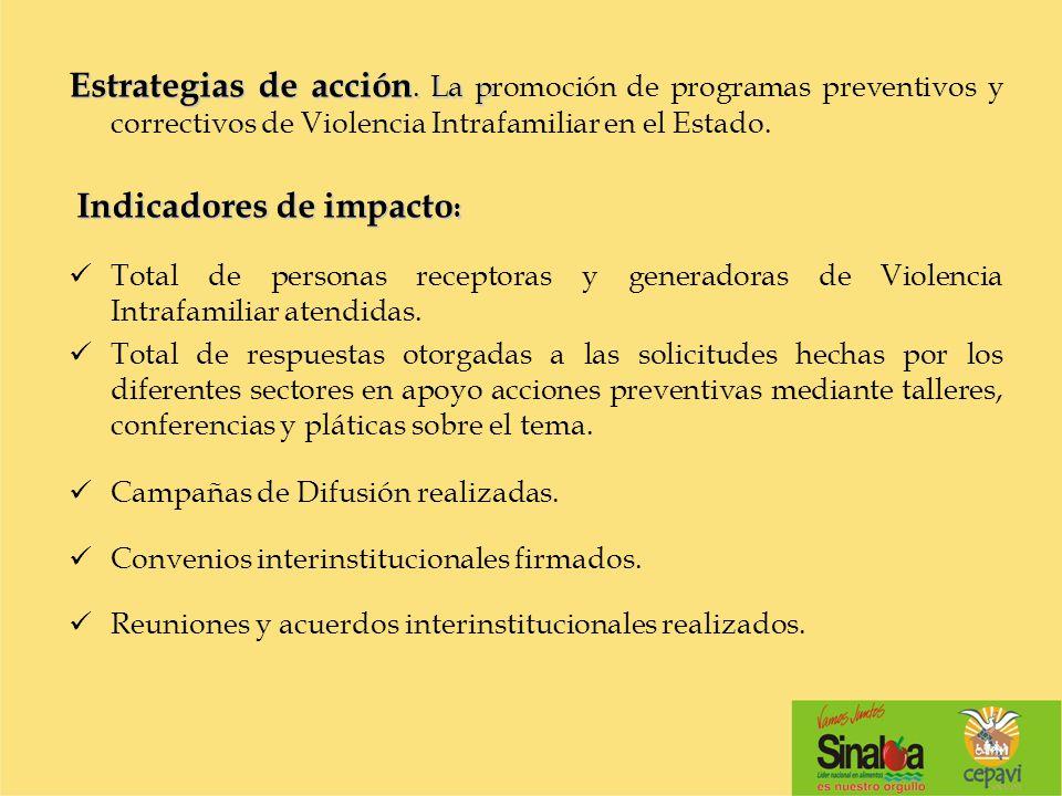 Estrategias de acción. La p Estrategias de acción. La promoción de programas preventivos y correctivos de Violencia Intrafamiliar en el Estado. Indica