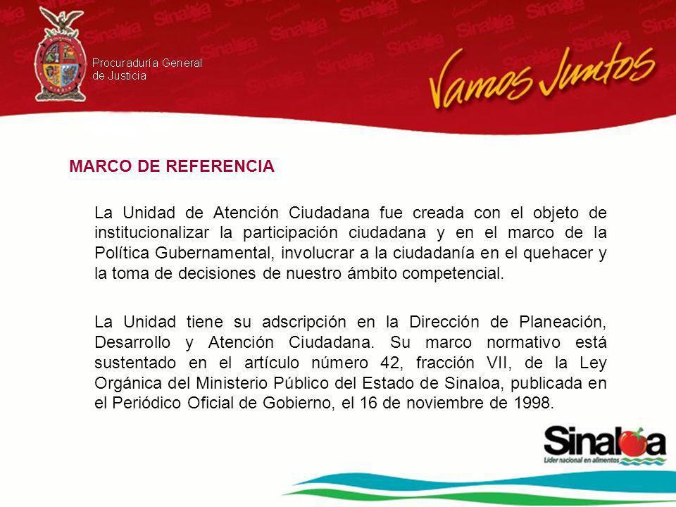MARCO DE REFERENCIA La Unidad de Atención Ciudadana fue creada con el objeto de institucionalizar la participación ciudadana y en el marco de la Política Gubernamental, involucrar a la ciudadanía en el quehacer y la toma de decisiones de nuestro ámbito competencial.