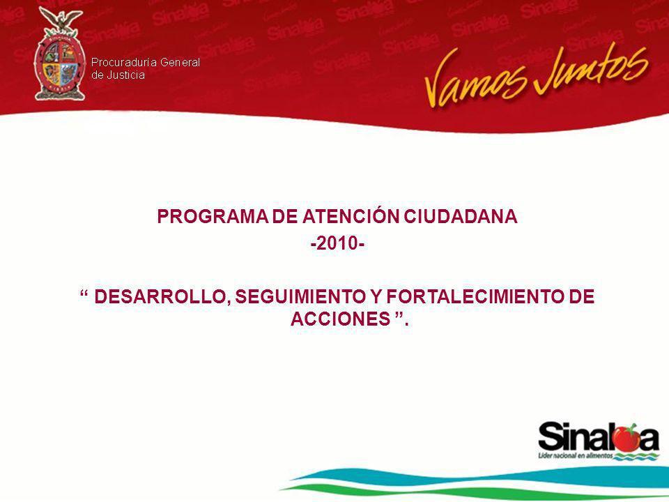 PROGRAMA DE ATENCIÓN CIUDADANA -2010- DESARROLLO, SEGUIMIENTO Y FORTALECIMIENTO DE ACCIONES.