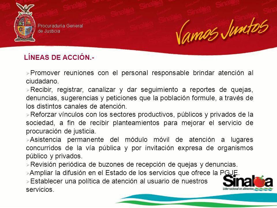 LÍNEAS DE ACCIÓN.- Promover reuniones con el personal responsable brindar atención al ciudadano. Recibir, registrar, canalizar y dar seguimiento a rep