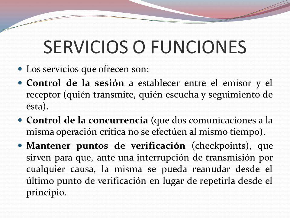 SERVICIOS O FUNCIONES Los servicios que ofrecen son: Control de la sesión a establecer entre el emisor y el receptor (quién transmite, quién escucha y