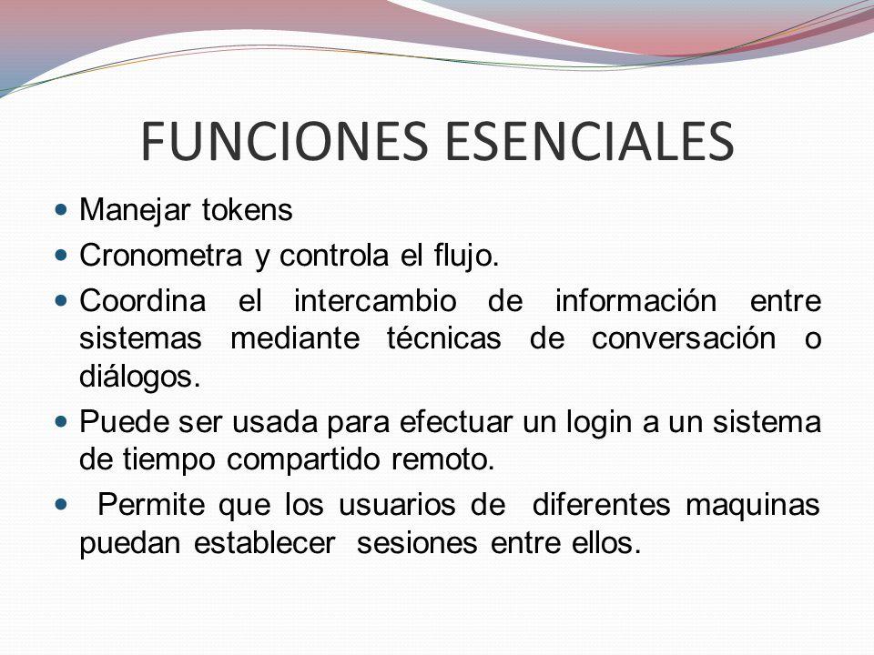 FUNCIONES ESENCIALES Manejar tokens Cronometra y controla el flujo. Coordina el intercambio de información entre sistemas mediante técnicas de convers