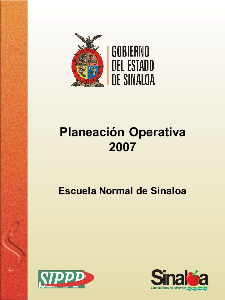 Sistema Integral de Planeación, Programación y Presupuestación Proceso para el Ejercicio Fiscal del año 2007 Información de Programas y Proyectos FORMATO POA-08 Hoja 1 de 1 Dependencia Clave Costo ($) Programas y Proyectos 18 Servicios de Educación 01 Formación de Docentes 359,985.00 0502050304 Escuela Normal de Sinaloa NOTA: se puso la cantidad del techo presupuestal del Gasto Operativo, ya que el presupuesto total no se tiene todavía.