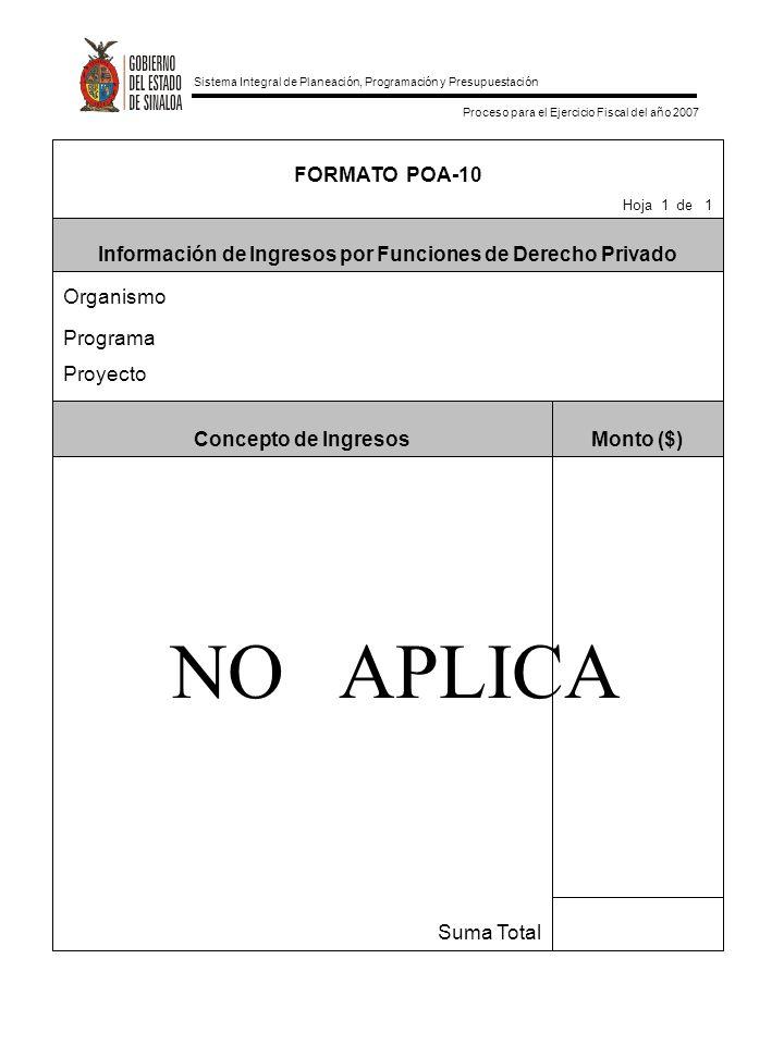 Sistema Integral de Planeación, Programación y Presupuestación Proceso para el Ejercicio Fiscal del año 2007 Suma Total Monto ($)Concepto de Ingresos Proyecto Programa Organismo Información de Ingresos por Funciones de Derecho Privado Hoja 1 de 1 FORMATO POA-10 NO APLICA