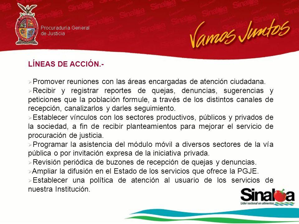 LÍNEAS DE ACCIÓN.- Promover reuniones con las áreas encargadas de atención ciudadana.