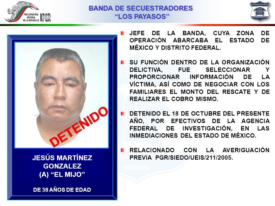 03MMIII BANDA DE SECUESTRADORES LOS PAYASOS BANDA DE SECUESTRADORES LOS PAYASOS NORMA REYES JUÁREZ (A) LA ESTRELLA DE 31 AÑOS DE EDAD MIEMBRO DE LA BANDA, CUYA ZONA DE OPERACIÓN ABARCABA EL ESTADO DE MÉXICO Y DISTRITO FEDERAL.