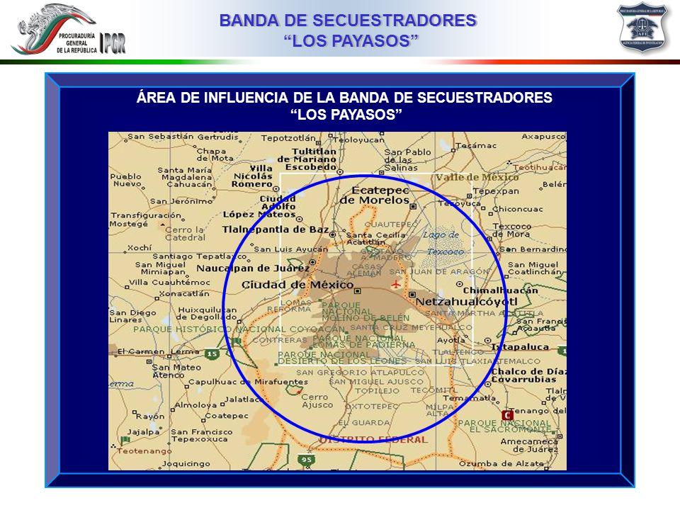 03MMIII BANDA DE SECUESTRADORES LOS PAYASOS BANDA DE SECUESTRADORES LOS PAYASOS MODUS OPERANDI EMPRESARIO DE 40 AÑOS DE EDAD, SECUESTRAD0 EL 27 DE SEPTIEMBRE DE 2005, EN EL ESTADO DE MÉXICO TIPO DE VÍCTIMAS: EMPRESARIOS ZONA DE INTERCEPCIÓN ESTADO DE MÉXICO ZONA DE COBRO DE RESCATES: DISTRITO FEDERAL FORMA DE COMUNICACIÓN: A TRAVÉS DE TELÉFONOS CELULARES FORMAS DE COBRO: DINERO EN EFECTIVO SECUESTROS POR DENUNCIAR