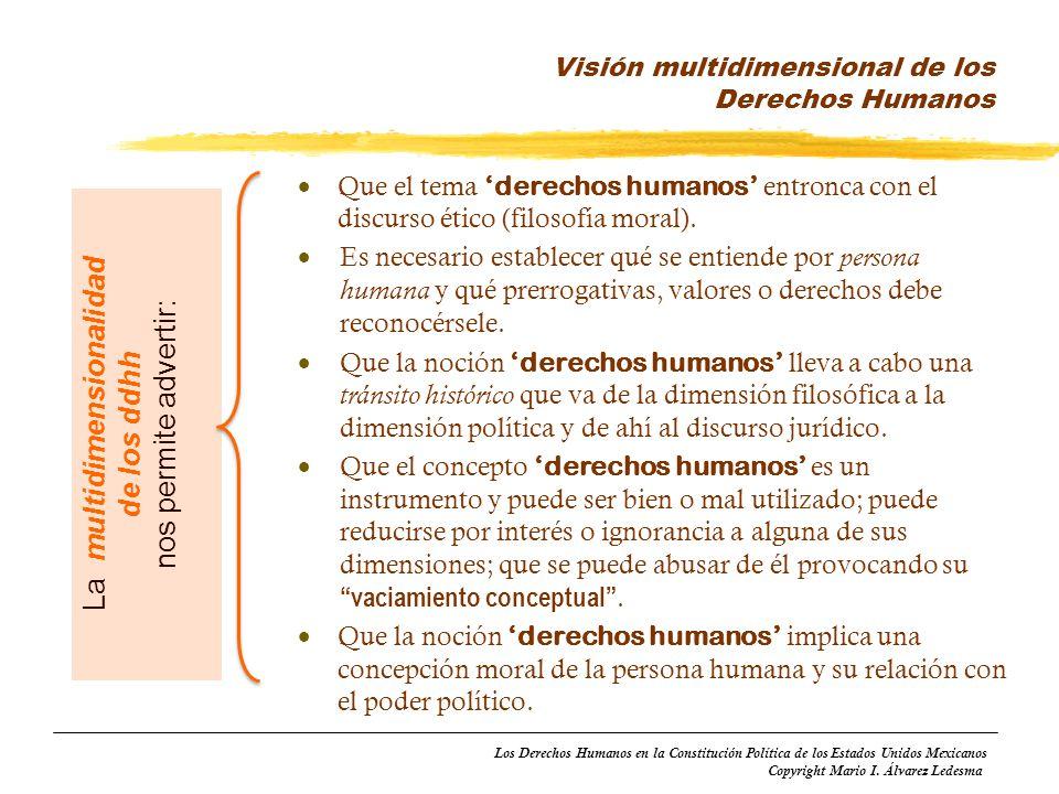 Los Derechos Humanos en la Constitución Política de los Estados Unidos Mexicanos Copyright Mario I. Álvarez Ledesma Que el tema derechos humanos entro