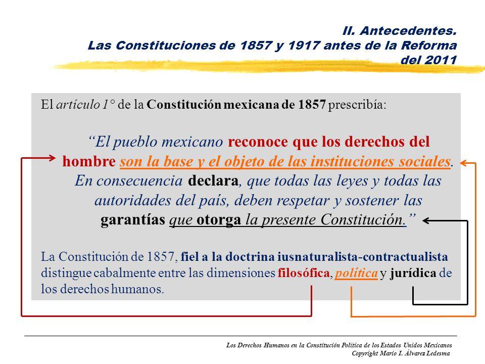 Los Derechos Humanos en la Constitución Política de los Estados Unidos Mexicanos Copyright Mario I. Álvarez Ledesma El artículo 1° de la Constitución