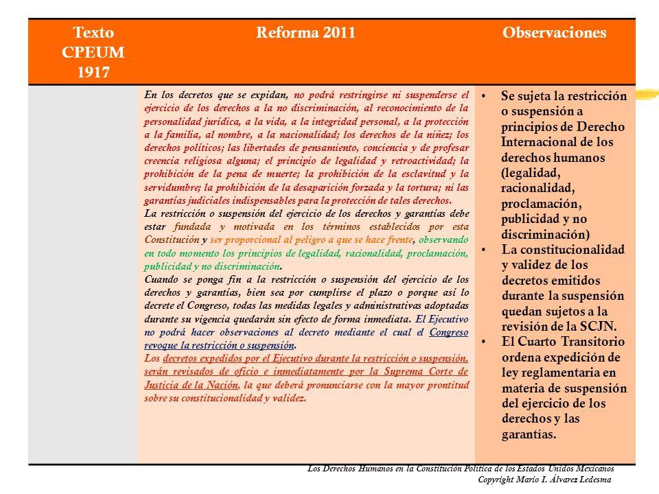 Los Derechos Humanos en la Constitución Política de los Estados Unidos Mexicanos Copyright Mario I. Álvarez Ledesma Texto CPEUM 1917 Reforma 2011Obser
