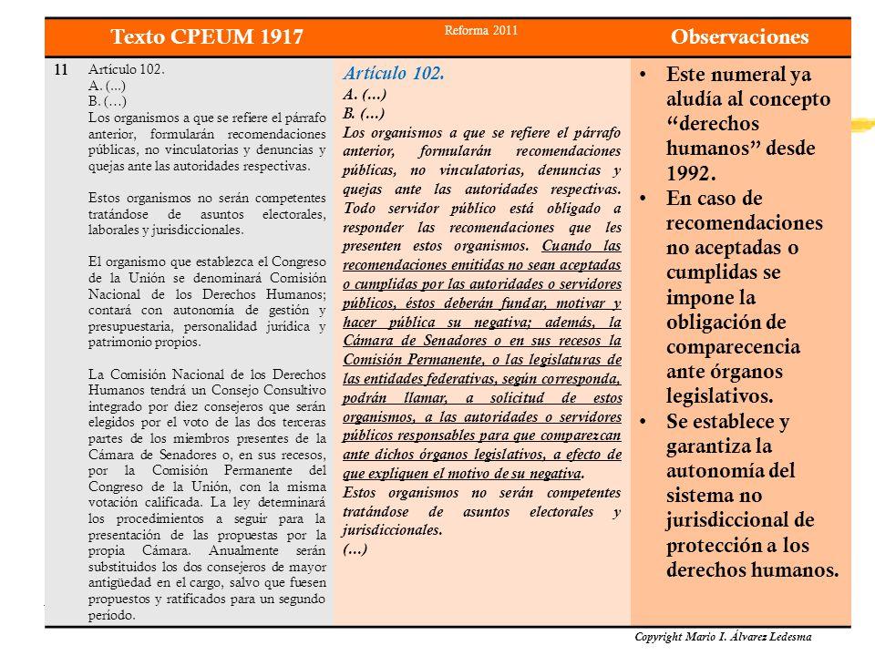 Los Derechos Humanos en la Constitución Política de los Estados Unidos Mexicanos Copyright Mario I. Álvarez Ledesma Texto CPEUM 1917 Reforma 2011 Obse