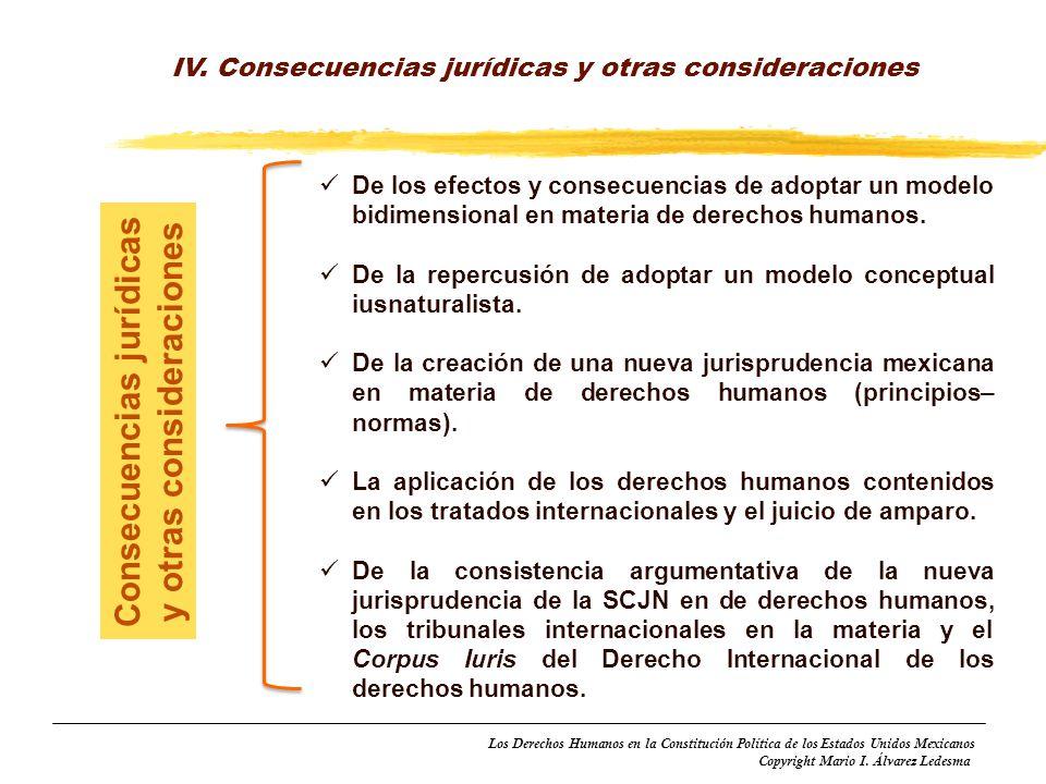 Los Derechos Humanos en la Constitución Política de los Estados Unidos Mexicanos Copyright Mario I. Álvarez Ledesma IV. Consecuencias jurídicas y otra