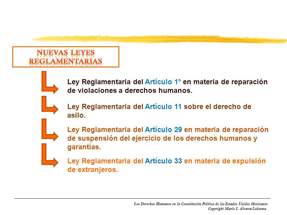 Los Derechos Humanos en la Constitución Política de los Estados Unidos Mexicanos Copyright Mario I. Álvarez Ledesma Ley Reglamentaria del Artículo 1°