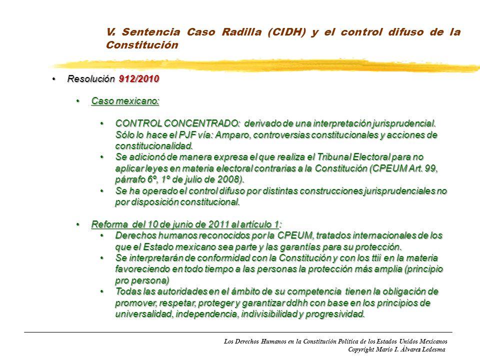 Los Derechos Humanos en la Constitución Política de los Estados Unidos Mexicanos Copyright Mario I. Álvarez Ledesma V. Sentencia Caso Radilla (CIDH) y