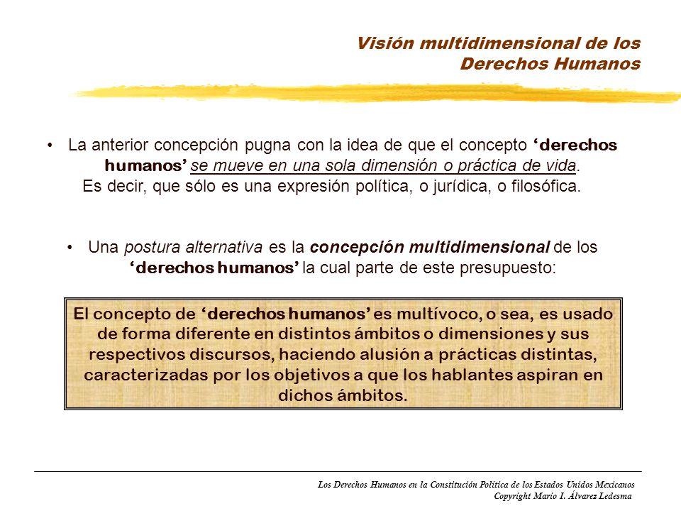 Los Derechos Humanos en la Constitución Política de los Estados Unidos Mexicanos Copyright Mario I. Álvarez Ledesma La anterior concepción pugna con l