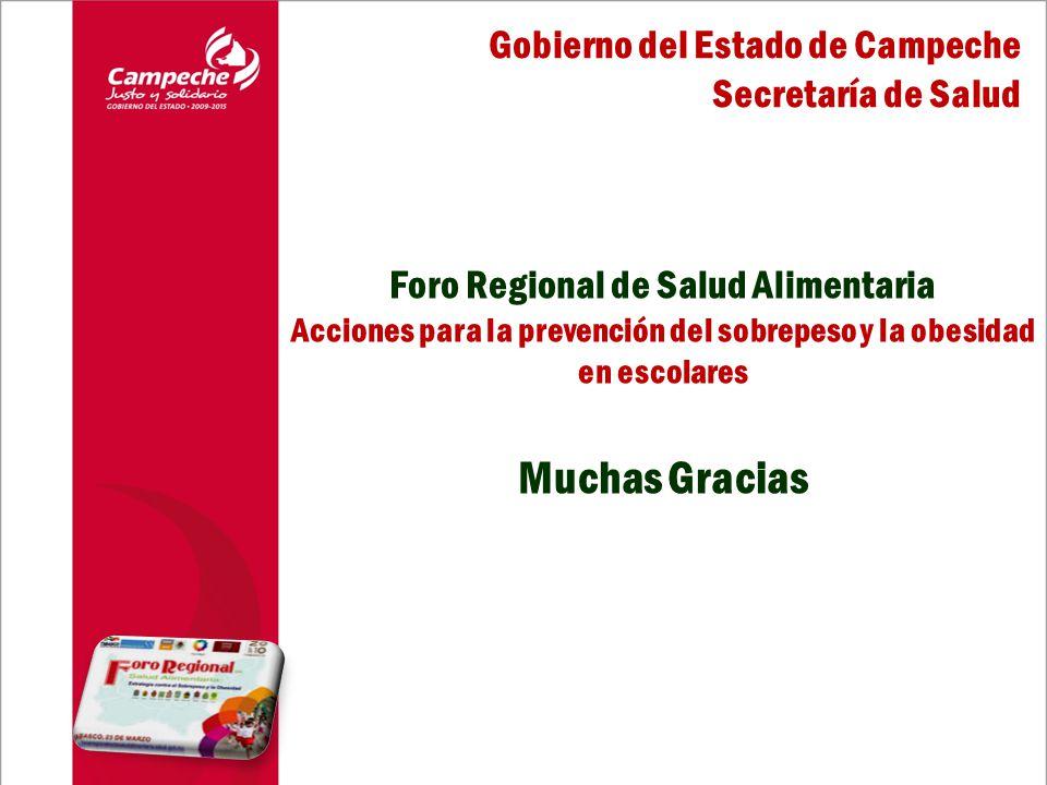 Muchas Gracias Gobierno del Estado de Campeche Secretaría de Salud Foro Regional de Salud Alimentaria Acciones para la prevención del sobrepeso y la obesidad en escolares