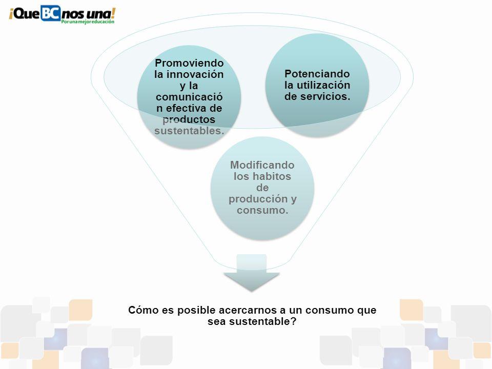 Cómo es posible acercarnos a un consumo que sea sustentable? Modificando los habitos de producción y consumo. Promoviendo la innovación y la comunicac