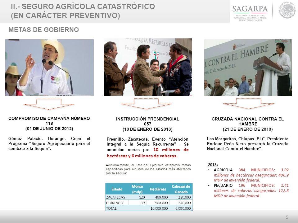 5 METAS DE GOBIERNO COMPROMISO DE CAMPAÑA NÚMERO 118 (01 DE JUNIO DE 2012) Gómez Palacio, Durango. Crear el Programa Seguro Agropecuario para el comba