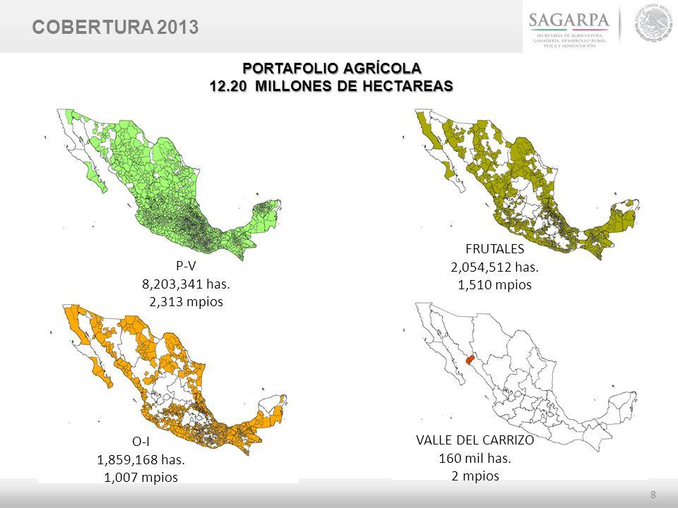 8 COBERTURA 2013 O-I 1,859,168 has. 1,007 mpios FRUTALES 2,054,512 has. 1,510 mpios P-V 8,203,341 has. 2,313 mpios VALLE DEL CARRIZO 160 mil has. 2 mp