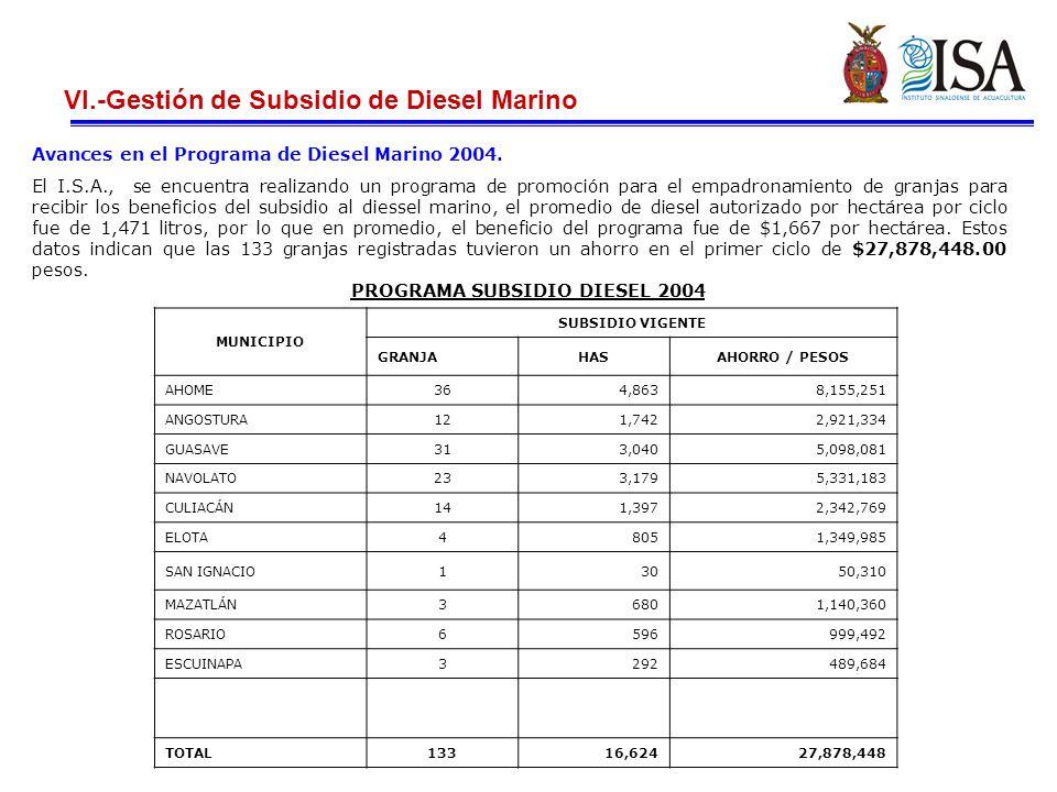 VI.-Gestión de Subsidio de Diesel Marino Avances en el Programa de Diesel Marino 2004.