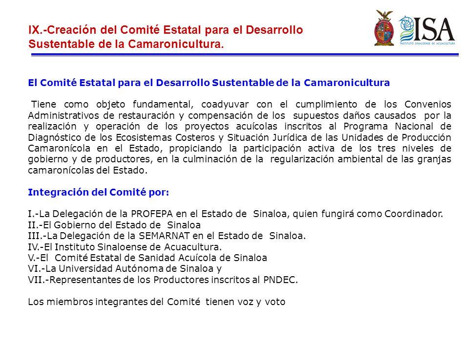 IX.-Creación del Comité Estatal para el Desarrollo Sustentable de la Camaronicultura.