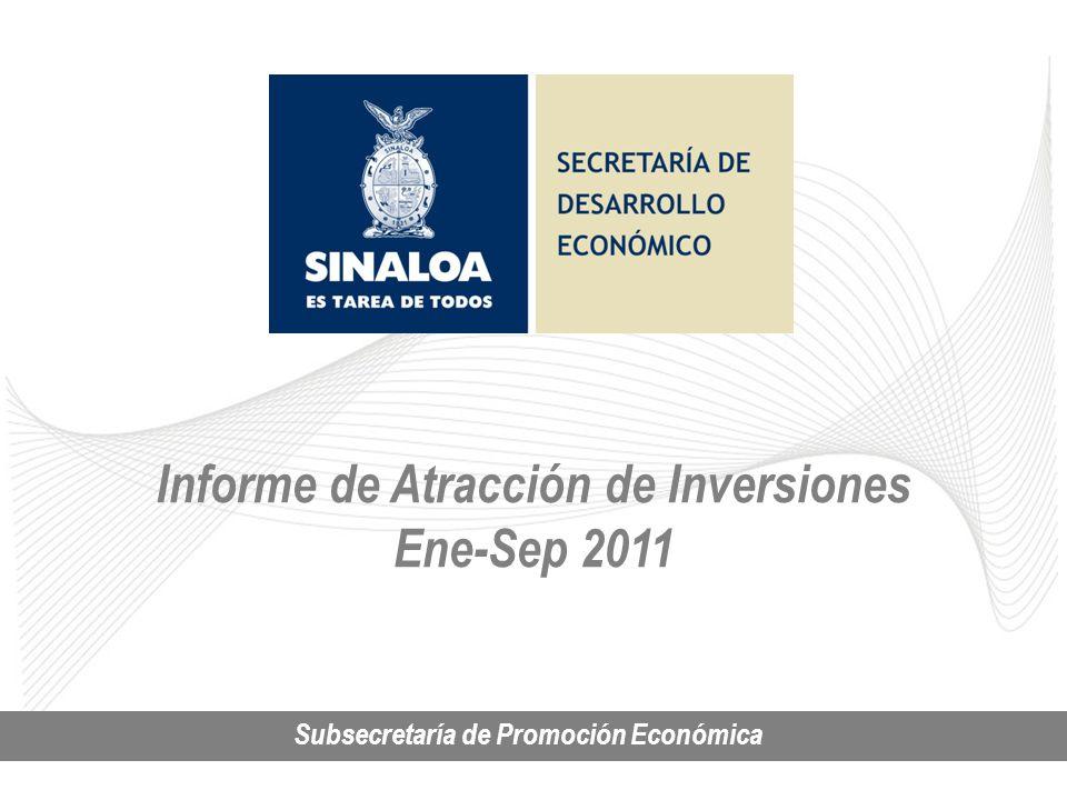 Inversión Privada en Sinaloa SUBSECRETARIA DE PROMOCIÓN ECONÓMICA Informe de Atracción de Inversiones Ene-Sep 2011 Subsecretaría de Promoción Económica
