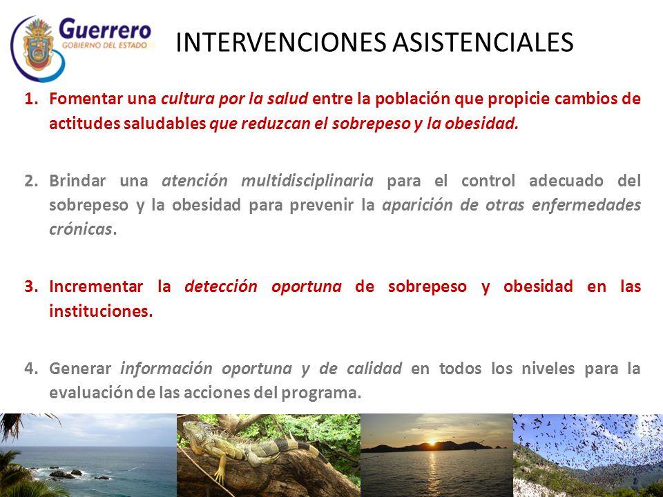 INTERVENCIONES ASISTENCIALES 1.Fomentar una cultura por la salud entre la población que propicie cambios de actitudes saludables que reduzcan el sobre