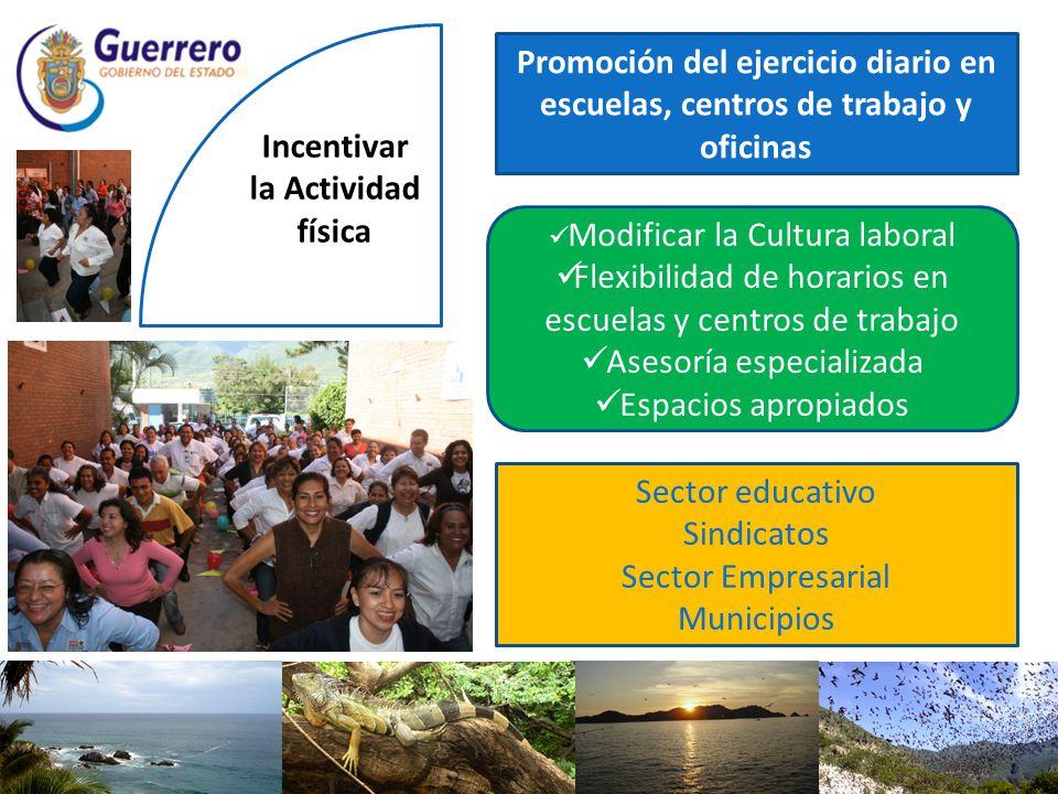 Incentivar la Actividad física Promoción del ejercicio diario en escuelas, centros de trabajo y oficinas Modificar la Cultura laboral Flexibilidad de