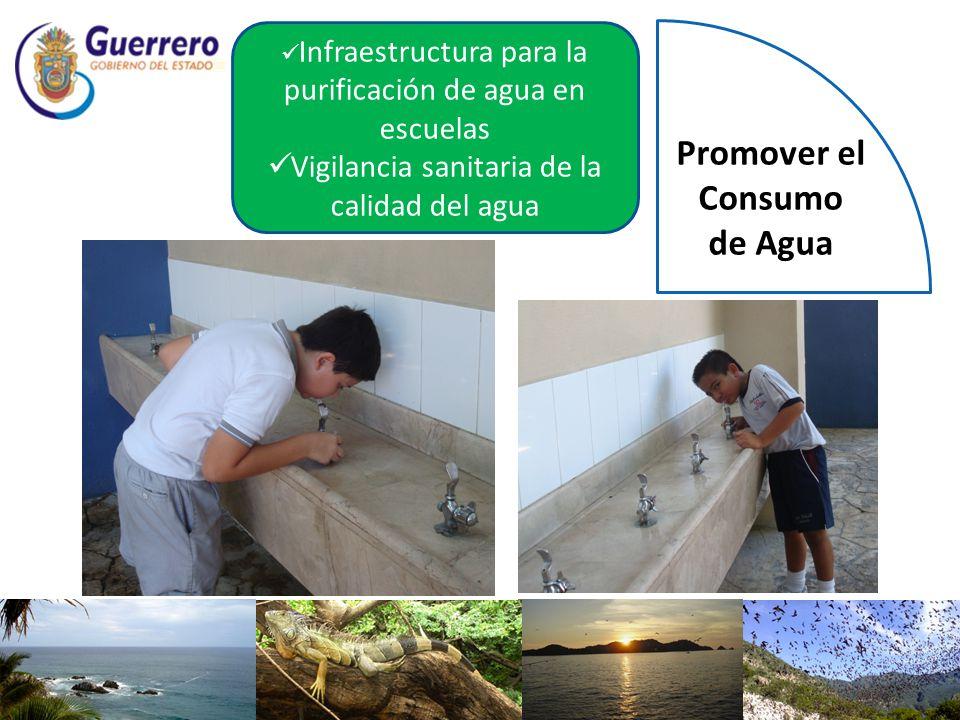 Infraestructura para la purificación de agua en escuelas Vigilancia sanitaria de la calidad del agua Promover el Consumo de Agua