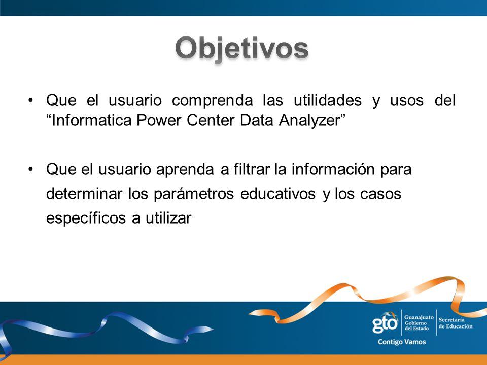 Que el usuario comprenda las utilidades y usos del Informatica Power Center Data Analyzer Que el usuario aprenda a filtrar la información para determi