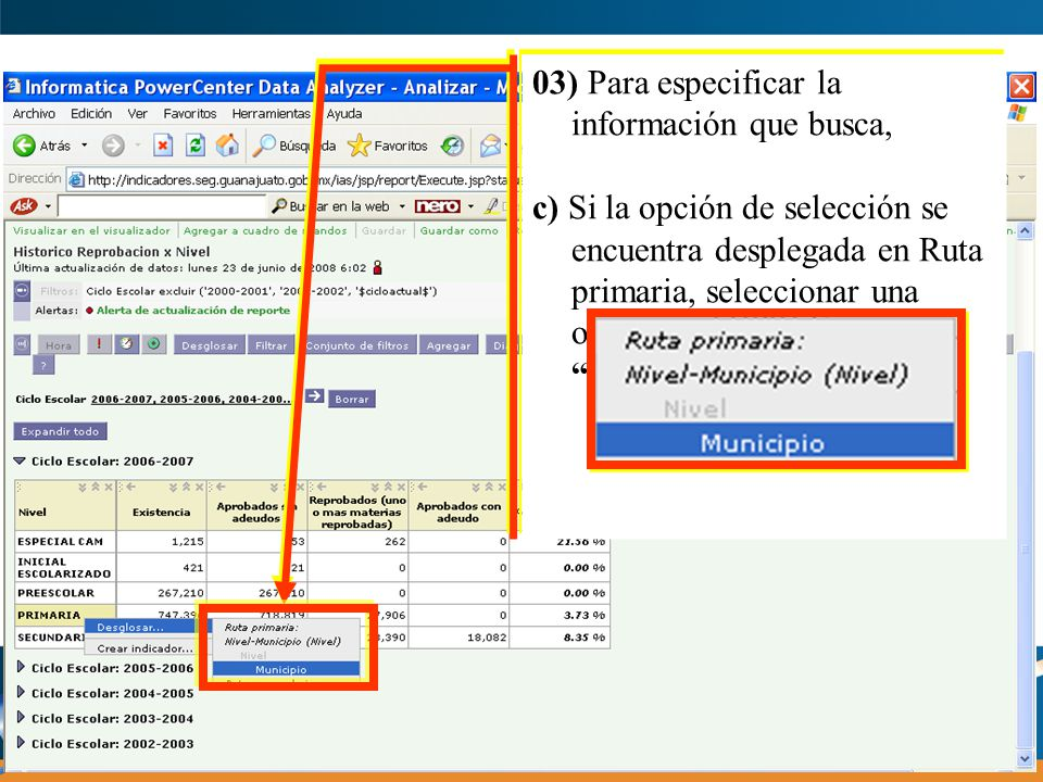 03) Para especificar la información que busca, d) Si la opción de selección se encuentra desplegada en Rutas Secundarias, seleccionar una opción.