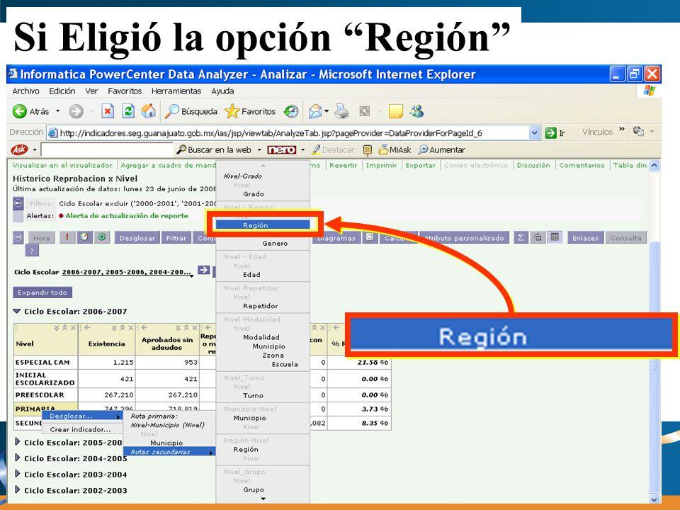 Si Eligió la opción Región