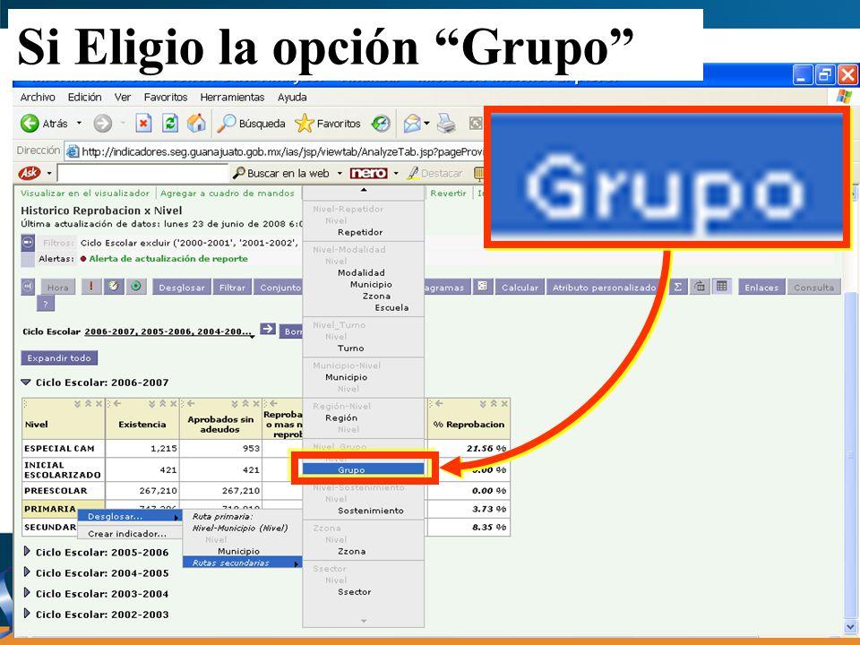 Si Eligio la opción Grupo