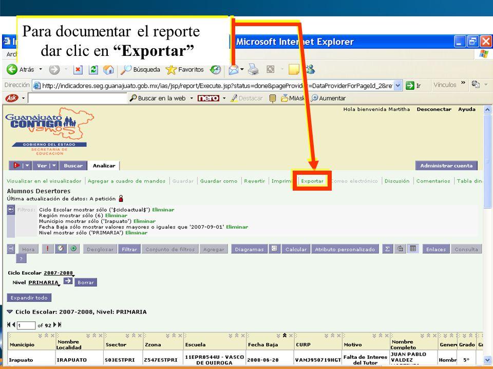 Para elegir el formato del documento del reporte, dar clic en: a)Formato del Documento en Microsoft Excel b)Formato del Documento en PDF Como ejemplo se optó y Recomienda por el Formato en Microsoft Excel
