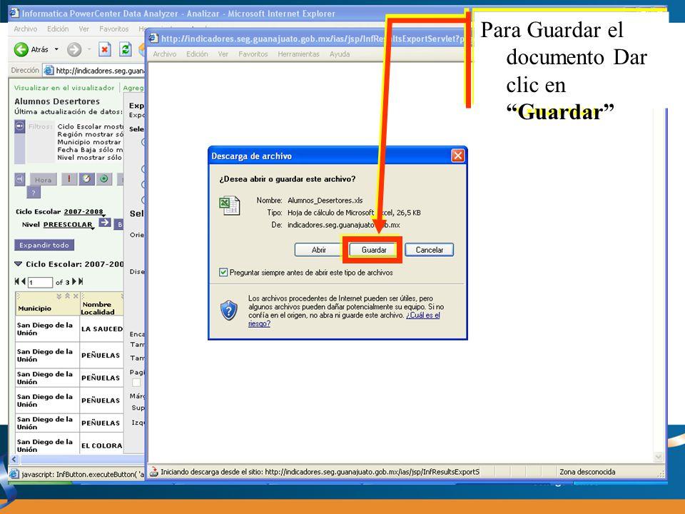 01) Seleccione el lugar donde se guardará el documento 02) Escriba el nombre con el que identifique el documento 03) Dar clic en el Botón Guardar