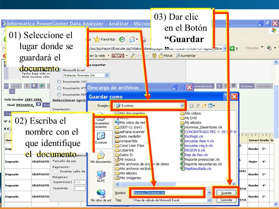 Ejemplo de un Reporte Guardado en Excel