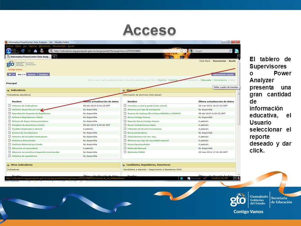 El tablero de Supervisores o Power Analyzer presenta una gran cantidad de información educativa, el Usuario seleccionar el reporte deseado y dar click